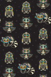 Sugar skull penguin, owl and raccoon pattern in Mexican style Royalty Free Stock Photos