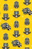 Sugar skull penguin, owl and raccoon pattern in Mexican style Stock Photos