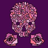 Sugar skull and roses. Day of The Dead or Halloween pink doodle skull with floral ornament and two roses over purple background Stock Photography