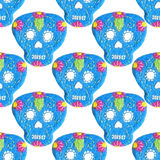 Sugar skull. Seamless pattern with Day of the Dead symbol. Royalty Free Stock Photo