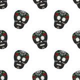 Sugar skull. Seamless pattern with Day of the Dead Stock Photo