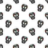 Sugar skull. Seamless pattern with Day of the Dead Stock Images
