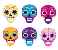 Sugar skull set icon, flat, cartoon style. Cute dead head, skeleton for the Day of the Dead in Mexico. Isolated on white Royalty Free Stock Images
