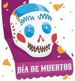 Sugar Skull sopra un nastro che celebra Dia de Muertos, illustrazione di vettore Immagine Stock Libera da Diritti