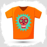 Sugar skull t-shirt print illustration Stock Photos