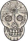 Sugar Skull Tattoo Etching Stock Photos