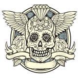 Sugar skull. Vector illustration of Calavera, Diamond and roses Royalty Free Stock Images