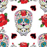 Sugar skull vector seamless pattern on background Royalty Free Stock Photos