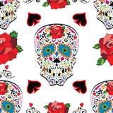 Sugar skull vector seamless pattern on background