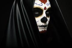 Sugar Skull. Woman with Sugar Skull makeup headshot royalty free stock photo