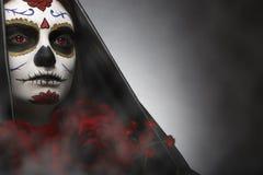 Sugar Skull. Woman with Sugar Skull makeup headshot royalty free stock photography