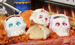 Sugar skulls. Skulls made of sugar as  part of the celebration of the day of the dead, mexico city, mexico Stock Photo