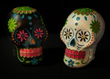 Sugar Skulls All Souls Day. A black and white sugar skull for Dias de la muerte or day of the dead a mexican celebration Royalty Free Stock Photo