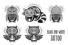 Sugar skulls black and white. Tattoo vector illustration. Day of The Dead cartoon calaveras skulls of animals. Perfect for coloring print. Black and white tattoo Royalty Free Stock Photo