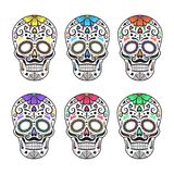 Sugar skulls. Colorful tattoos. Mexican Day of the Dead. Vector illustration. Stock Image