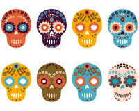 Sugar Skulls, grupo colorido do crânio da flor Fotografia de Stock Royalty Free