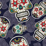 Sugar skulls pattern Stock Image