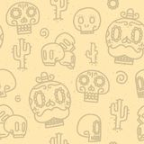 Sugar skulls seamless vector pattern Stock Photo
