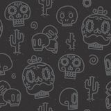 Sugar skulls seamless vector pattern Royalty Free Stock Images