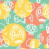 Sugar skulls seamless vector pattern Stock Images