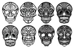 Sugar skulls set. Sugar black and white skulls set Stock Images