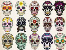 Sugar skulls set. Trendy sugar skulls set with skulls in different styles Stock Photo