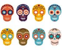 Sugar Skulls, sistema colorido del cráneo de la flor Fotografía de archivo libre de regalías