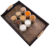 Sugar and Spices In Wicker Tray II Stock Image