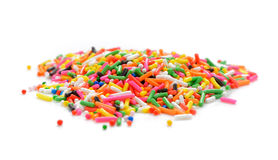 Sugar sprinkle dots, decoration for cake and bekery, a lot of sp. Sprinkles isolated on white background royalty free stock image