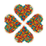 Sugar sprinkle dots, heart shaped Stock Image