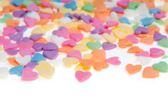 Sugar sprinkle dots hearts, decoration for cake and bakery, as a background. Sugar sprinkle dots, decoration for cake and bakery, a lot of sprinkles as a Royalty Free Stock Image