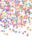Sugar sprinkle dots hearts, decoration for cake and bakery, as a background. Sugar sprinkle dots, decoration for cake and bakery, a lot of sprinkles as a Royalty Free Stock Photography