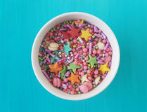 Sugar sprinkles. In a bowl royalty free stock photos