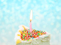 Sugar strands on ice-cream cake Stock Image
