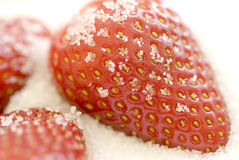 Sugar strawberries. Brightly lit strawberries coated with sugar granules Stock Images