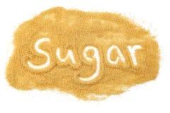 Sugar Sugar. The word sugar written in brown sugar Royalty Free Stock Images