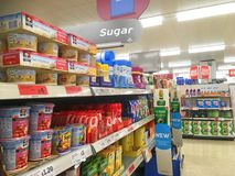 Sugar on superstore shelf. Royalty Free Stock Photos