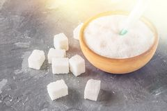 Sugar in a syringe. Conceptual depiction of dependence on the sweet. Sugar is a drug. Injection of sweets. Royalty Free Stock Photo