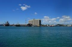 Sugar Terminal i stora partier, Caudan strand, Port Louis, Mauritius Royaltyfri Fotografi