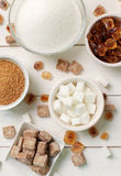 Sugar. White and brown sugar on the table stock photography