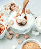 Sugar. White and brown sugar on the table Stock Image