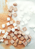 Sugar. White and brown sugar on the table Stock Images