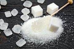 Sugar white crystal on board Stock Photos