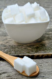 Sugar white cubes in ceramic bowl Royalty Free Stock Photography