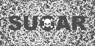 Sugar white death. Skull and text on background of sugar grains.  royalty free illustration