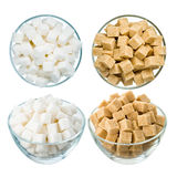 Sugar on white. Refined sugar in a glass bowl isolated on a white background. Set of 4: brown and white, top and side view Stock Images