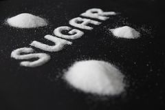 Sugar Word Sugar On Background branco imagem de stock