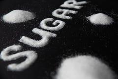 Sugar Word Sugar On Background branco fotos de stock