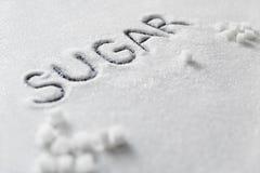 Sugar Word Sugar On Background branco foto de stock