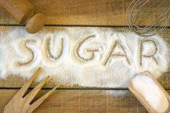 A sugar word with background. Still life stock photo